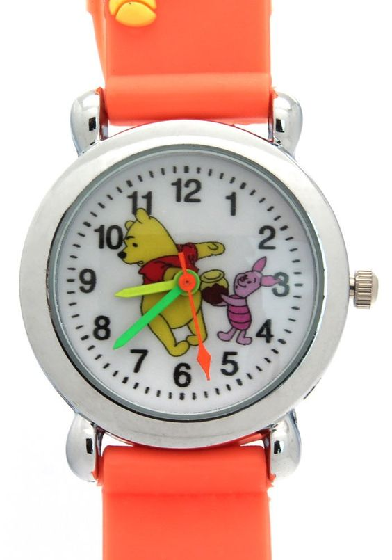 TimerMall Winnie The Pooh Pattern Dial Orange Rubber Band Lovely Children's Watches. Description: The watches has a winnie the pooh pattern and round dial which band is made of rubber.The funny cartoon style watches with its cute styled character. And this kind of watch is especially designed for children a which is very reasonable and light. However it can waterproof so you can wear it in all seasons.Clear standard numbers and bright colours make this watches appealing and attention...