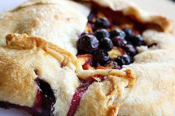 Peach and Blueberry Galette. Simple and looks delicious!
