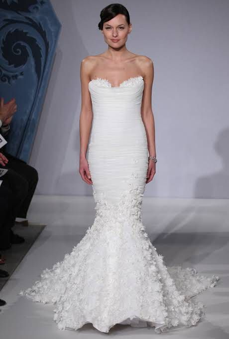 Style MZBS1207 Mark Zunino for Kleinfeld Wedding Dress Spring 2013 - Strapless Taffeta Mermaid Gown with Sweetheart Neckline and Floral Skirt