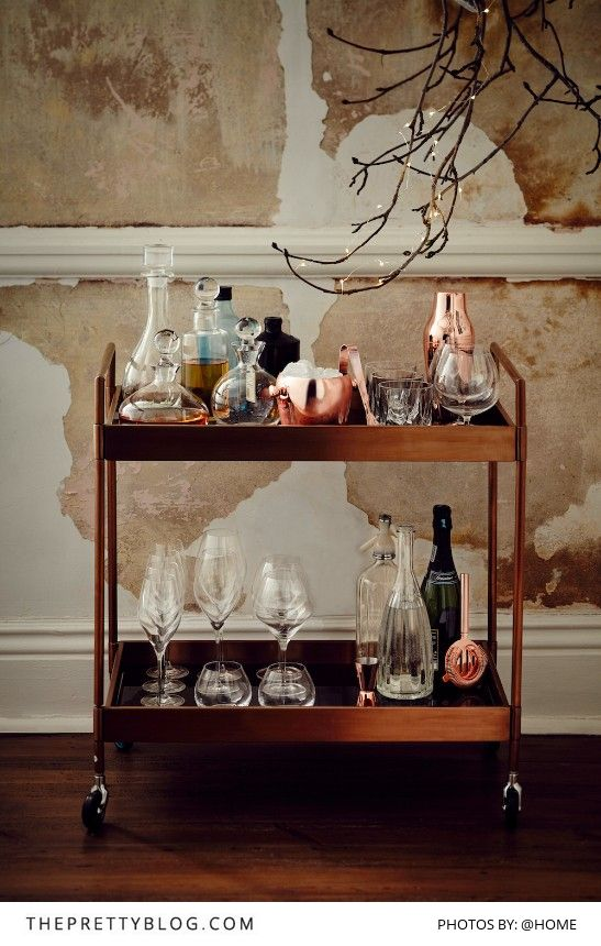 When hosting guests this Christmas, serve welcome drinks from a beautifully arranged drinks trolley!   This beautiful trolley is avaliable from @home   Perfect Christmas Hosting: Day & Night