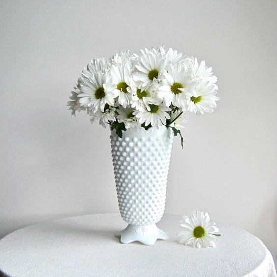 Fenton Hobnail Milk Glass Footed Vase
