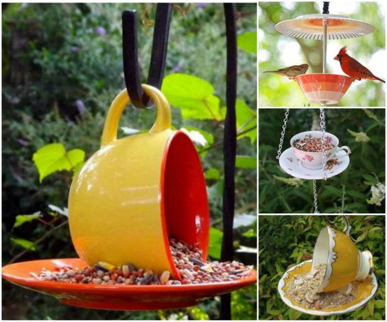 Home made Bird Feeder out of Reuse Teacups....Easy DIY Recycling Projects. Its Time to Empty Your Recycle Bin. Part II #Diycrafts