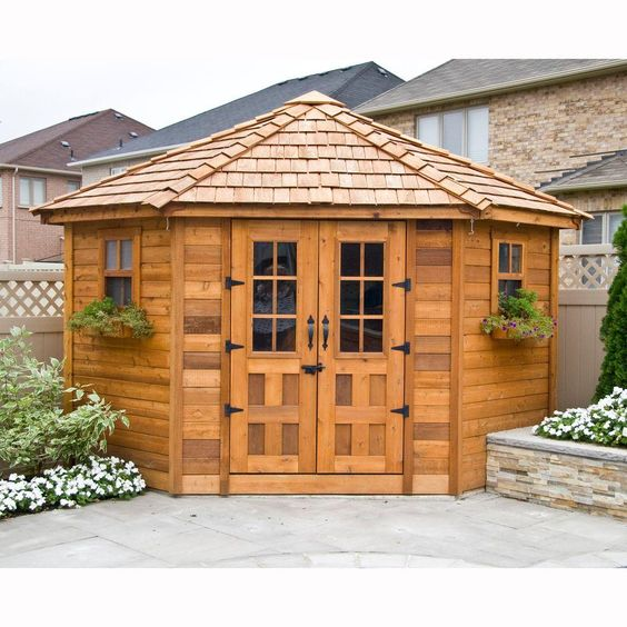 9 ft x 9 ft penthouse cedar garden shed browns tans for Garden pool sheds