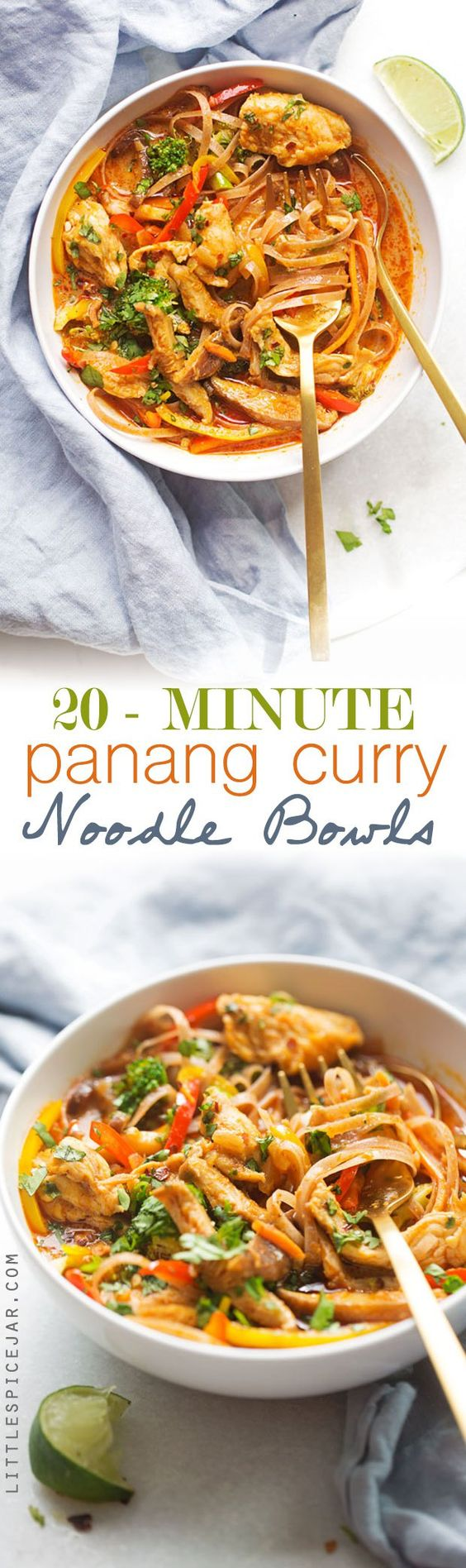 20 Minute Panang Curry Noodle Bowls - A quick, easy, and healthyish recipe for…
