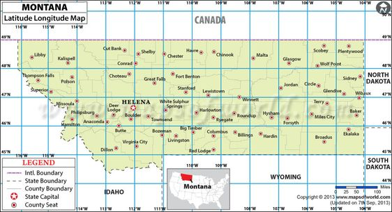 Montana Latitude And Longitude Map USA Maps Pinterest - Montana political map