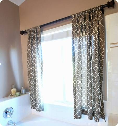 Idea for curtains on our bathroom window above the tub   like it a lot. Idea for curtains on our bathroom window above the tub   like it a