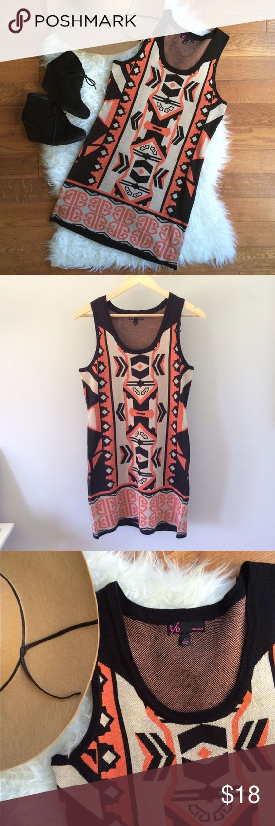 Tribal Print Sleeveless Sweater Dress NWOT Brand new adorable sweater dress, so perfect for fall! Pair this tribal print piece with leather leggings (cross-listed!) and wedge booties for easy weekend style. Never worn, NWOT, 32in shoulder to hem. t/o Dresses