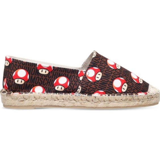 MOSCHINO Super Mario mushroom canvas espadrilles ($270) ❤ liked on Polyvore featuring shoes, sandals, red, red sandals, canvas slip on shoes, red espadrilles, moschino shoes and canvas espadrilles