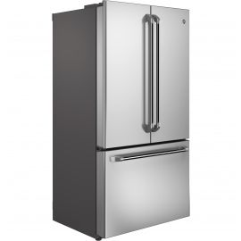 $3329 The General Electric Café (TM) series French door refrigerator with bottom freezer features a factory installed water, ice cubes and crushed ice dispenser, and provides a wide variety of storage options. The refrigerator has a capacity of 15.9 cubic feet and the freezer can hold up to 7.2 cubic feet. The unit has a stainless steel finish and is 35 3/4
