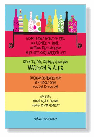 Cute wording/Invitation for the Stock the Bar party