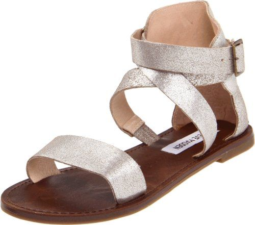 Steve Madden Women's Bethanyy Ankle-Strap Sandal,Dusty Silver,10 M US Your search for cool summer style ends here. Leather upper. Adjustable ankle strap buckle. Lightly padded footbed.  #Steve_Madden #Shoes