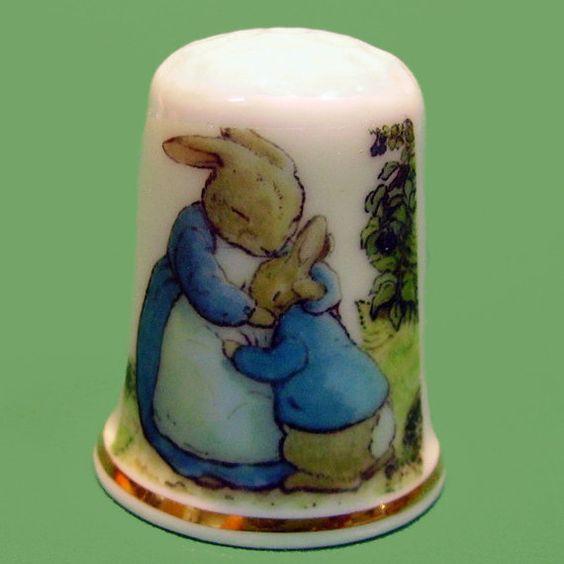 English porcelain thimble Beatrix Potter by LeClosdesLavandes, $4.50