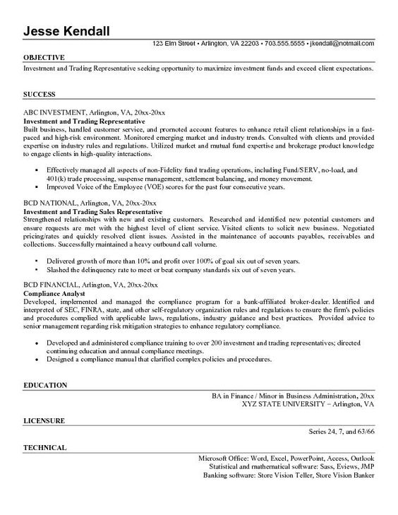 Proprietary Trading Resume -    wwwresumecareerinfo - resume example retail