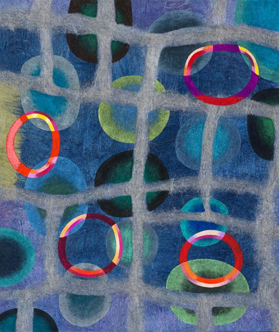"""Jenne Giles. Felt Paintings. Grids. Grid 4. Felted wool, mixed media. 33 x 28"""". This is very cool & takes real skill to 'paint' by felting wool yarn into designs."""