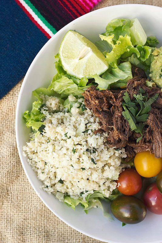 Chipotle Barbacoa Burrito Bowls with Cilantro Lime Cauli-Rice from Against All Grain: Meals Made Simple via Tasty Yummies
