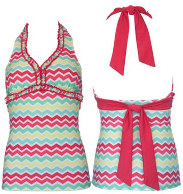 Double Ruffle Halter Multi Chevron - S, M, L Available