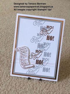 Handmade Christmas Cards; Ho Ho Ho; Greetings From Santa; 2016 Holiday Catalogue; Stampin' Up!; Tamara's Paper Trail