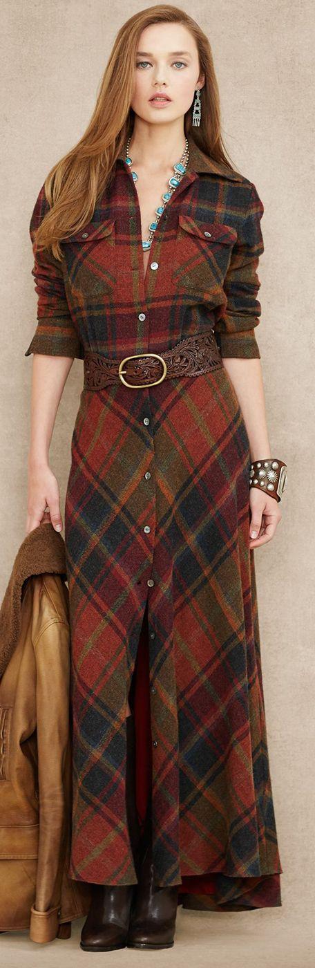 Ralph Lauren Blue Label Plaid Wool Cashmere Maxidress  RALPH ...