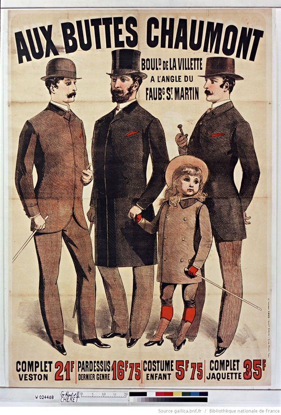 Aux Buttes Chaumont. Complet veston 21 F, Pardessus dernier genre 16F75, Costume enfant 5F,75... : [affiche] / [Jules…