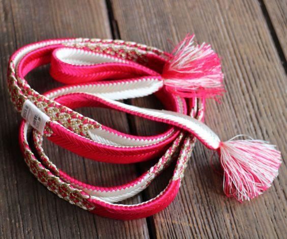 Obi-jime, Vintage Japanese Silk Obijime, Silk Obi Kimono Cord, Silk Cord, Pink…