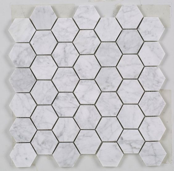 "Premium Grade Marble Mosaic Tiles for your Kitchen & Bathroom Backsplash, Shower Floor, Accent Wall, Flooring, Design ideas. BIANCO CARRARA 2"" HEXAGON POLISHED MARBLE MOSAIC Carrara Bianco or ""Carrera"
