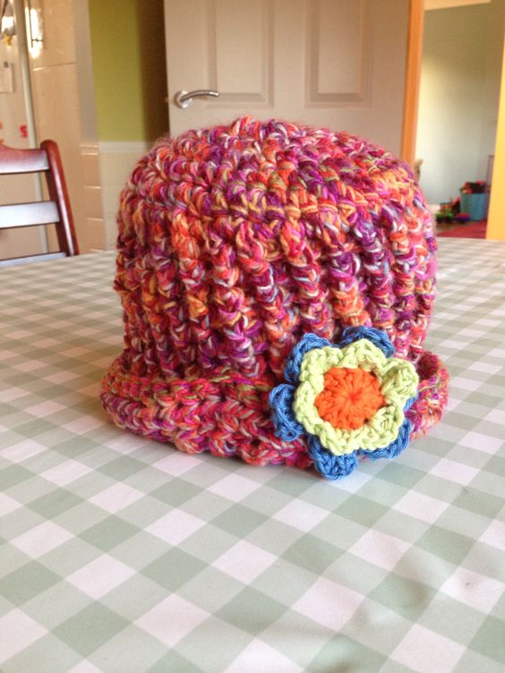 New hat for Tess! Crochet hat with flower