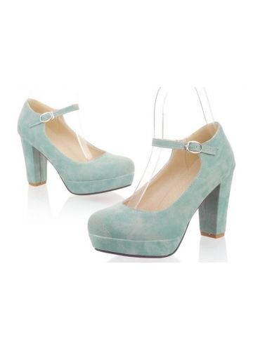 Modern Light Blue PU Chunky Heel Platform Lady Shoes | Shoes ...