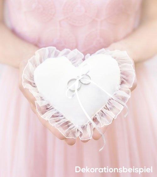 Weiss Doppel Herz Kristall Strass Hochzeit Pocket Ring Kissen D3Z3