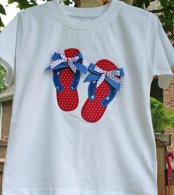 FREE Shipping SaMpLe SALE July 4th independence day  Flip Flops Applique Tee T  Shirt  Girls size 4 Ready to ship. $14.00, via Etsy.