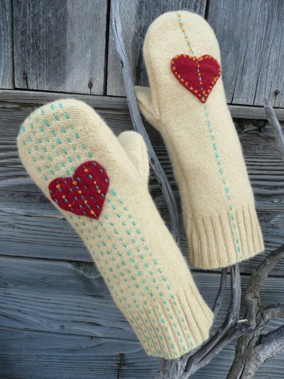 Long Mittens  Recycled  Wool Sweater  Embroidered Nordic by malinb, $48.00