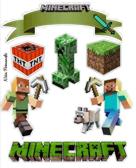 Topo De Bolo Minecraft Modelos De Tags Para Imprimir Com