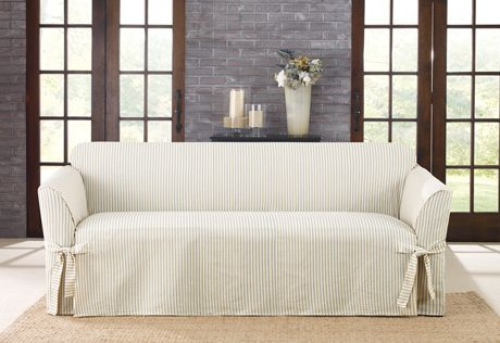Sure Fit Slipcovers Ticking Stripe One Piece Slipcovers - Sofa --- Cute.