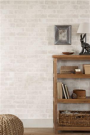 Brick wallpaper love this think it will brighten the for Plain kitchen wallpaper