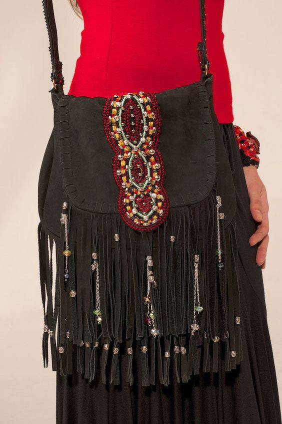 Handmade Western One Of A Kind Fringe Exquisite Silver Color Beads Handbag #AnnNEve #ShoulderBag