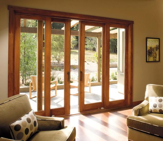 Sliding doors in living room but with another set of for Outside door with window that opens