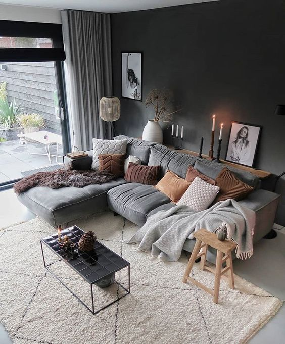 Modern Living Room Scandinavian Design Grey Couch Grey Wall Beige Carpet Wall Art Living Room Decor Cozy Living Room Colors Living Room Decor Apartment