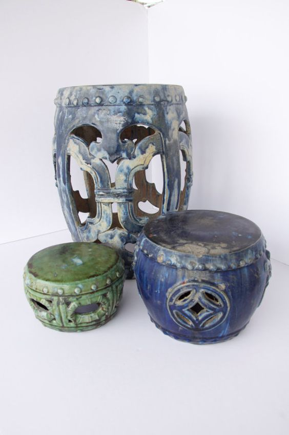 Antique Asian Garden Stools Talk Vintage To Me Pinterest Gardens