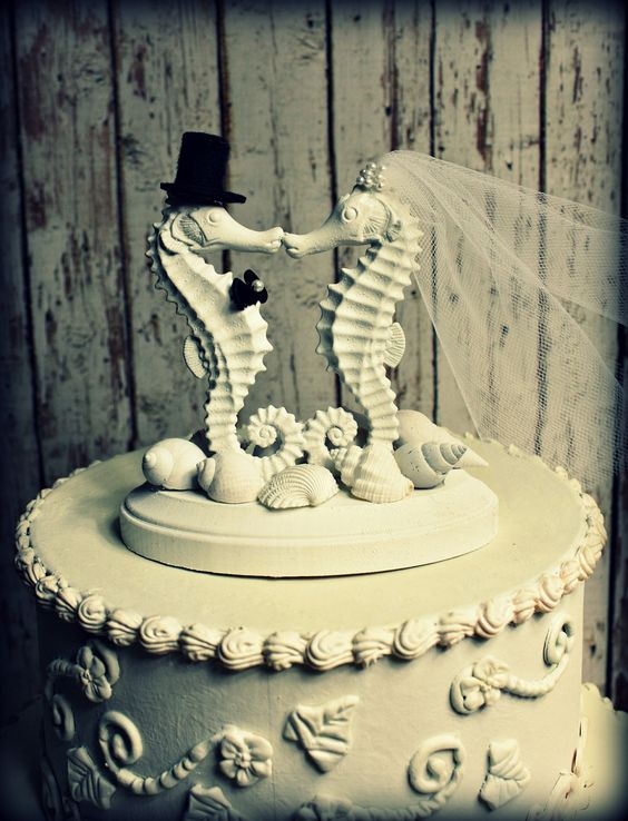 Seahorse Wedding Cake Topper-Kissing Seahorse Couple-Beach Themed Wedding Cake Topper-Destination Wedding. $49.00, via Etsy.