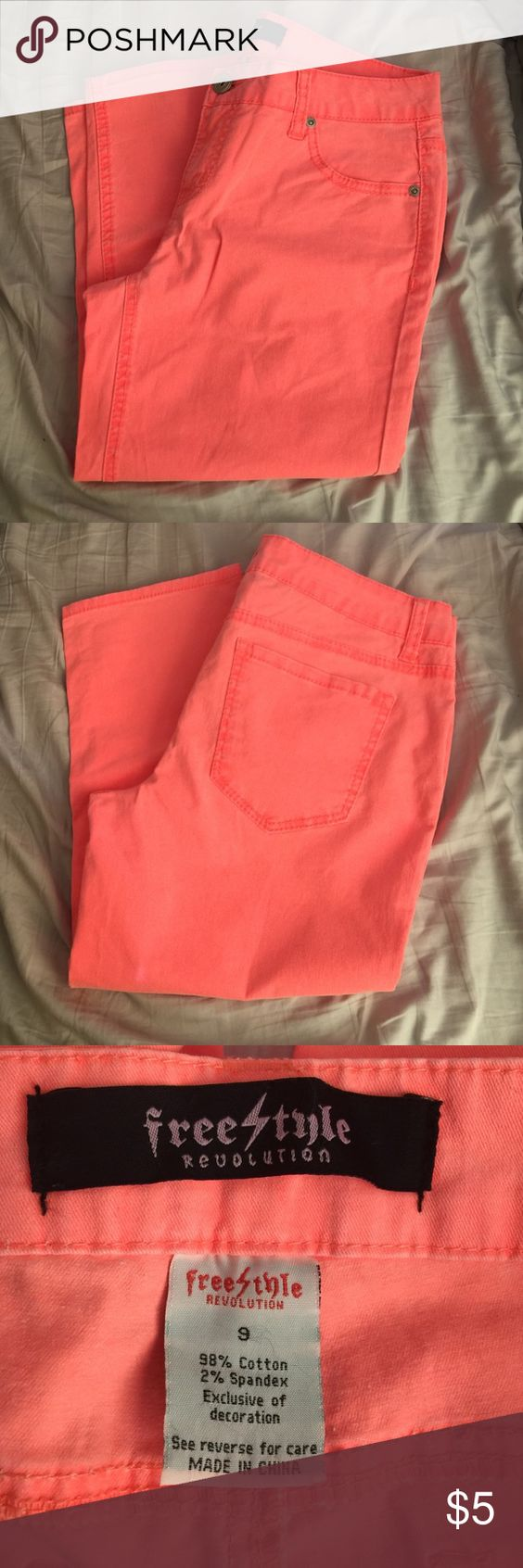 Freestyle Revolution Capris Peachy-orange Capris. Mid-rise waist. Freestyle Pants Capris
