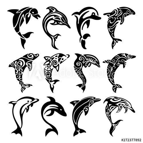 Dolphins Silhouette Tattoo Tribal Dolphins Tribal Tattoo