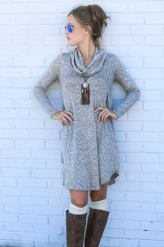 Lunar Love Mocha Cowl Neck Sweater Dress With Long Sleeves: