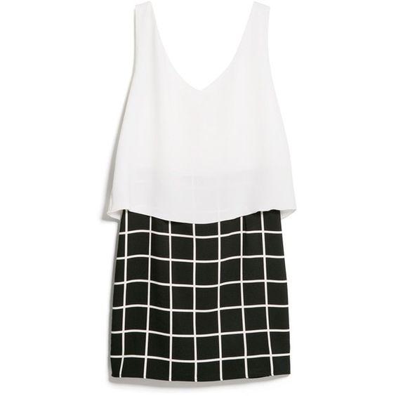 MANGO Contrast Bodice Dress (1.249.695 VND) ❤ liked on Polyvore featuring dresses, vestidos, strap dress, vneck dress, white layered dress, white v neck dress and white dress