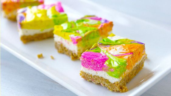 If you've got 10 minutes and some neon food coloring, you've got what it takes to make these bright and colorful no-bake cheesecake bars.