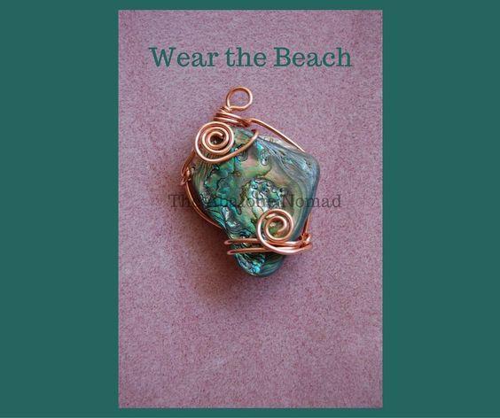 Medium Abalone Pendant with Copper Wire Wrap
