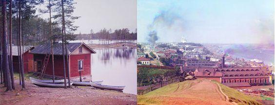 Kuva: Punkaharju Saimaa 1903 (oik.); Perm Gorki 1910 (vas.) Sergei Prokudin-Gorski, Prokudin-Gorskii Collection, Library of Congress.