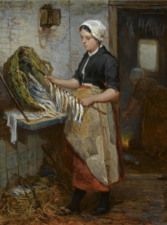 Bernardus Johannes Blommers - Preparing the Fish (De Speetster) Sold for Euro 17,050 at Sotheby's, Amsterdam - Oil on panel, 19 x 14.5 cm