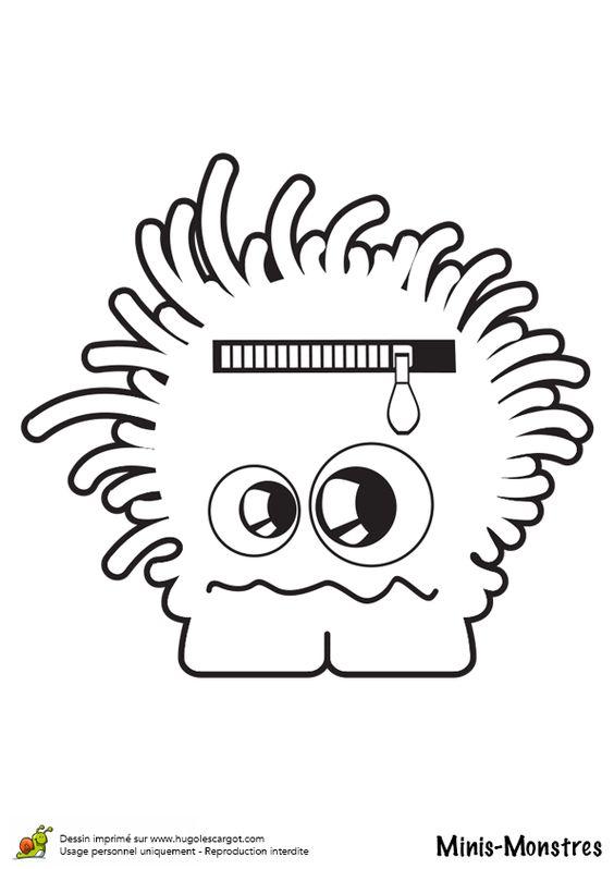 Coloriage de mini monstre mal coiffé