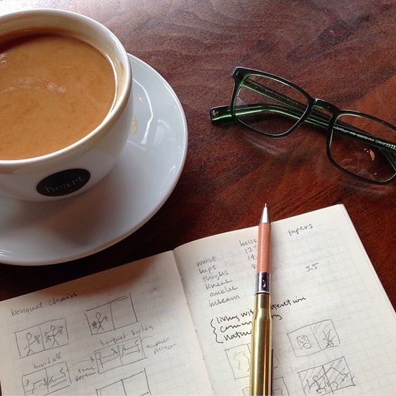 Sketches, coffee and the Arthur in Green Spruce. Photo by Parker Fitzgerald.