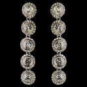Rhodium Clear Rhinestone Pave Circle Dangle Earrings 82022