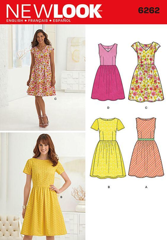 misses' dress with full skirt can be made sleeveless, short ...